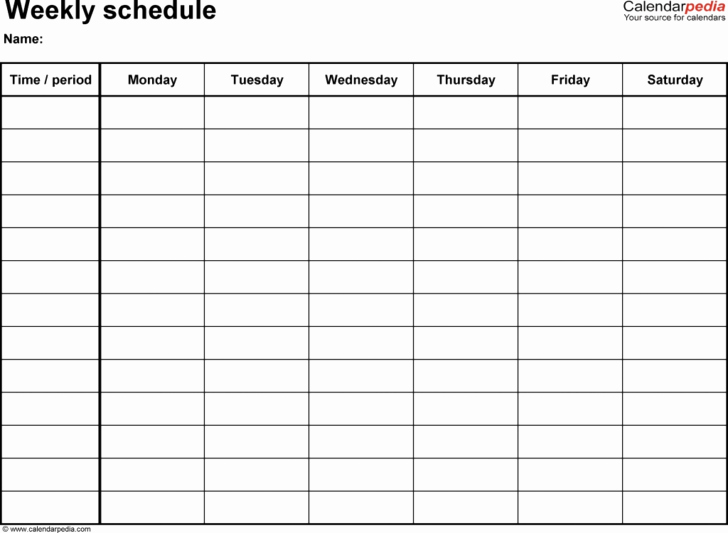blank monday through friday calendar