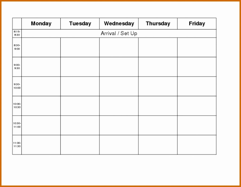 Blank Monday Through Friday Calendar Fresh Monday to Friday Blank Calendar Template – Template