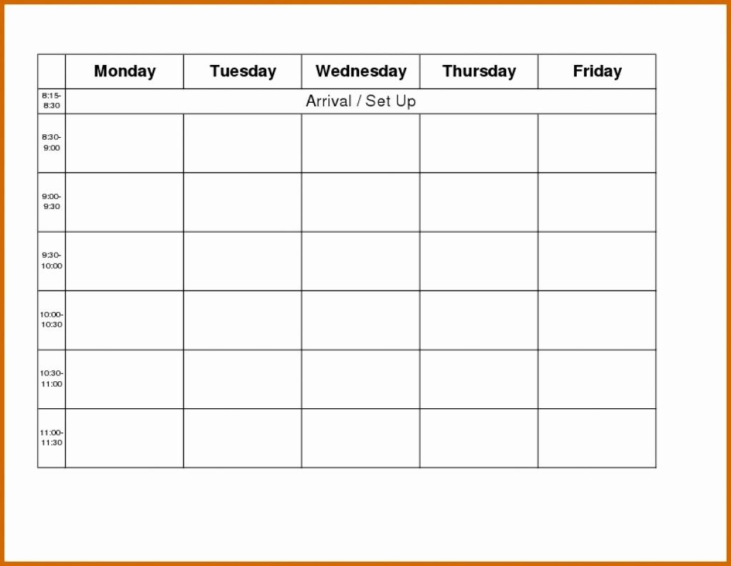 Blank Monday Through Friday Calendar Fresh Monday to Friday Blank Calendar Template – Template