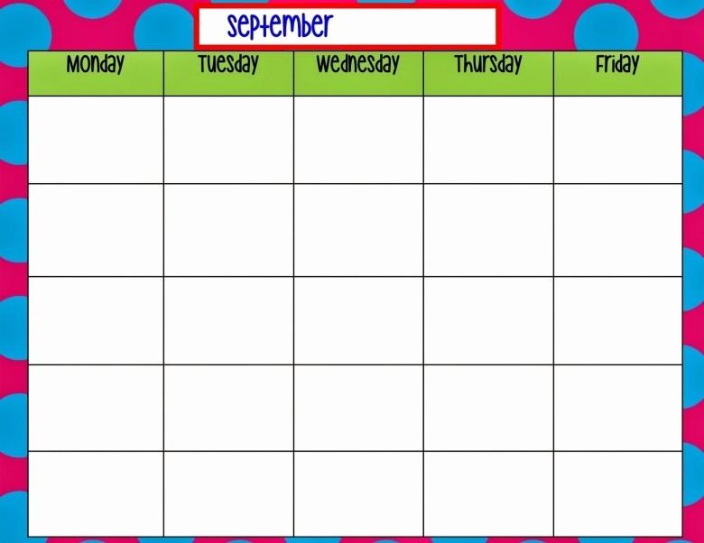 Blank Monday Through Friday Calendar Lovely Blank Monday Through Friday Calendar Free Calendar Template