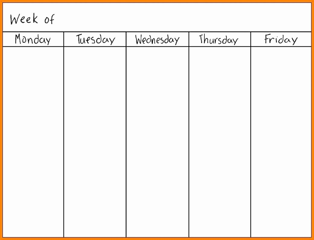 Blank Monday Through Friday Calendar Lovely Printable Monday Through Friday Calendar