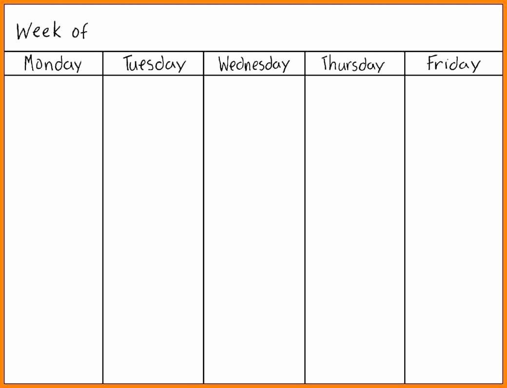 Blank Monday Through Friday Calendar Lovely Printable Monday Through Friday Calendar