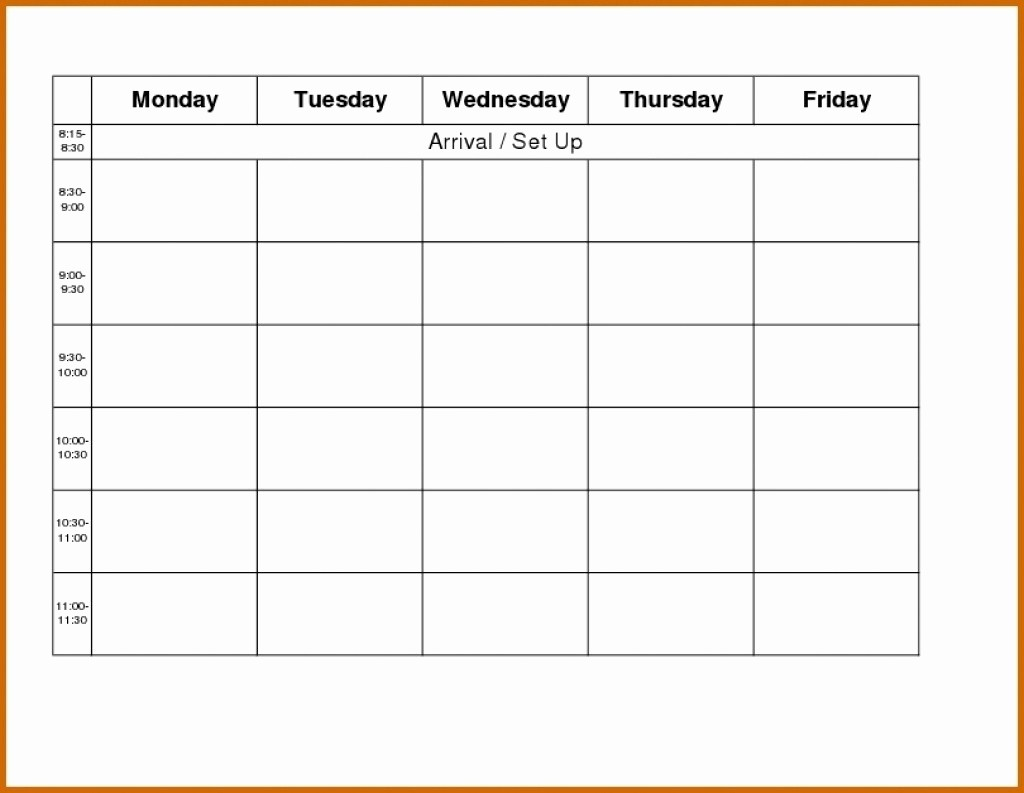 Blank Monday Through Friday Calendar Lovely Printable Monday Through Friday Calendar Template