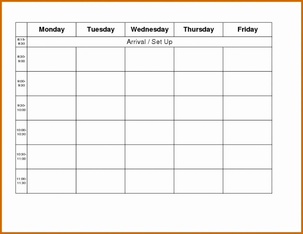 Blank Monday Through Friday Calendar Lovely Printable Monday Through Friday Calendar Template