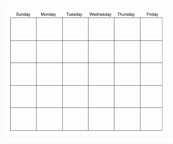 Blank Monday Through Friday Calendar Lovely Template Blank Calendar Template Monday Through Friday