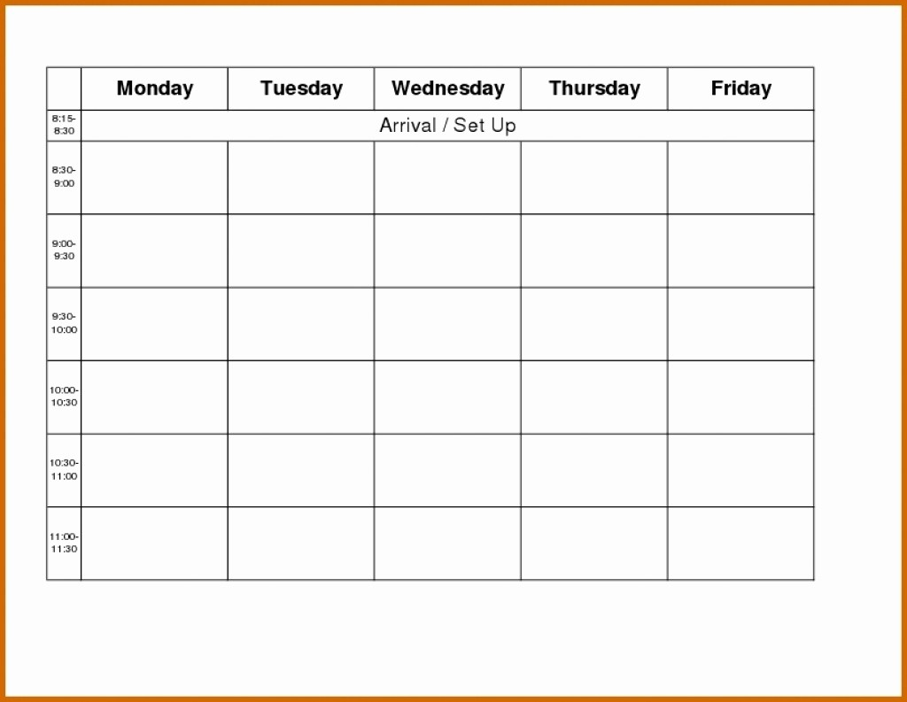 Blank Monday Through Friday Calendar Luxury Printable Monday Through Friday Calendar Template