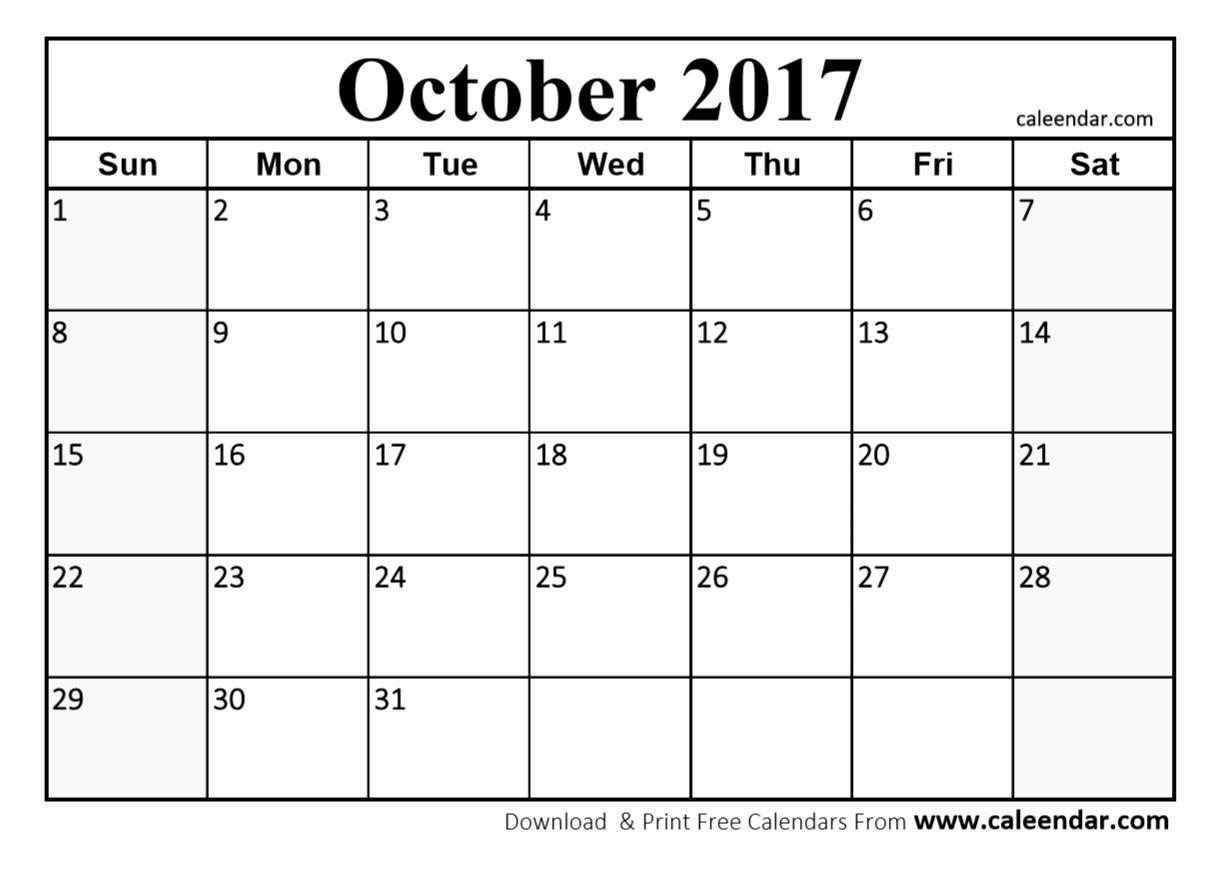 Blank Monthly Calendar 2017 Printable Awesome October 2017 Calendar Pdf