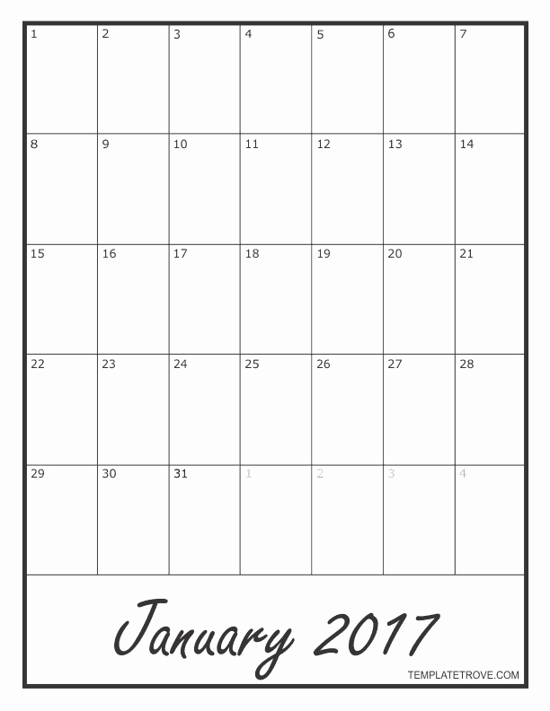Blank Monthly Calendar 2017 Printable Beautiful 2017 Blank Monthly Calendar
