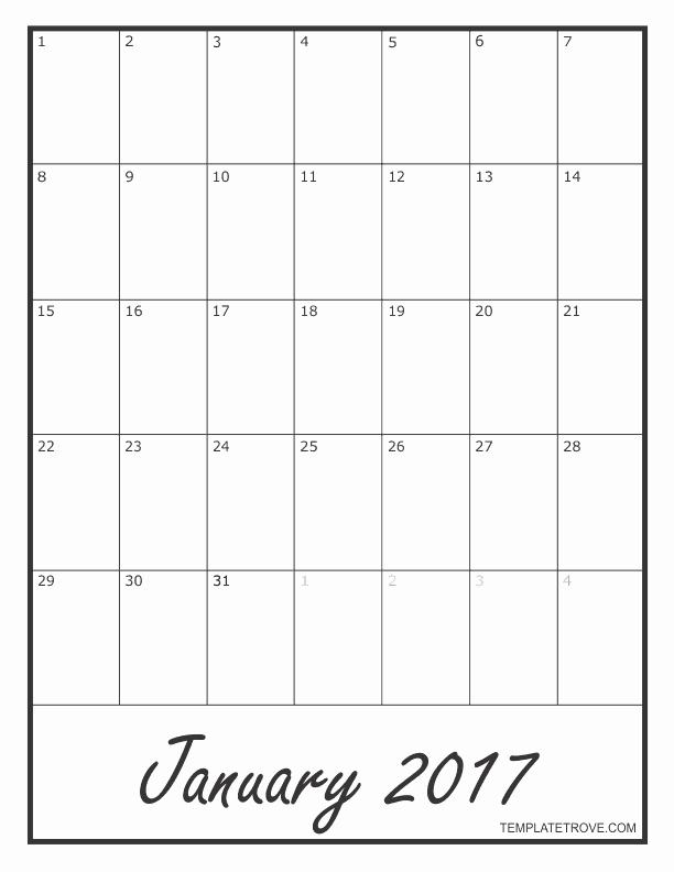 Blank Monthly Calendar 2017 Printable Beautiful 2017 Blank Monthly Calendar