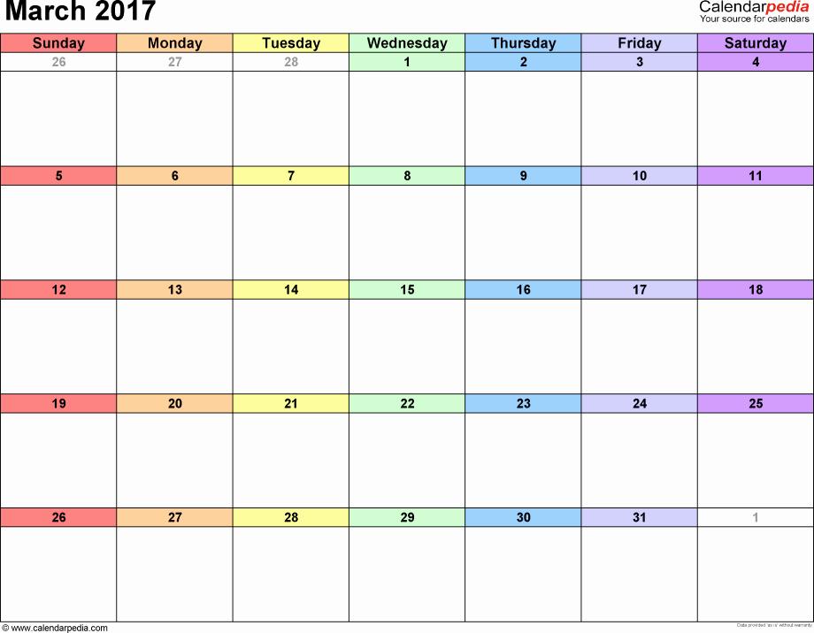 Blank Monthly Calendar 2017 Printable Best Of Blank March 2017 Calendar Printable