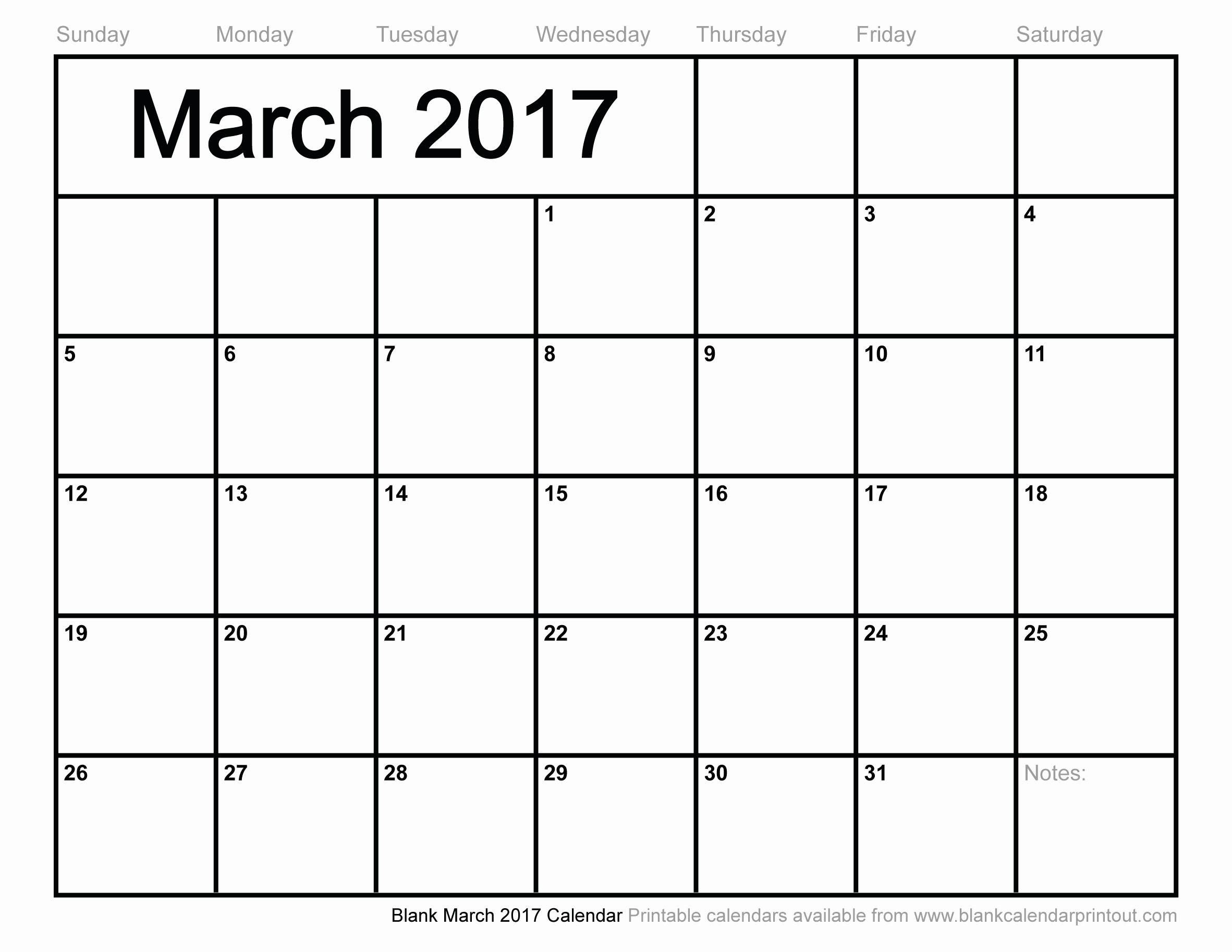 Blank Monthly Calendar 2017 Printable Best Of Blank March 2017 Calendar to Print