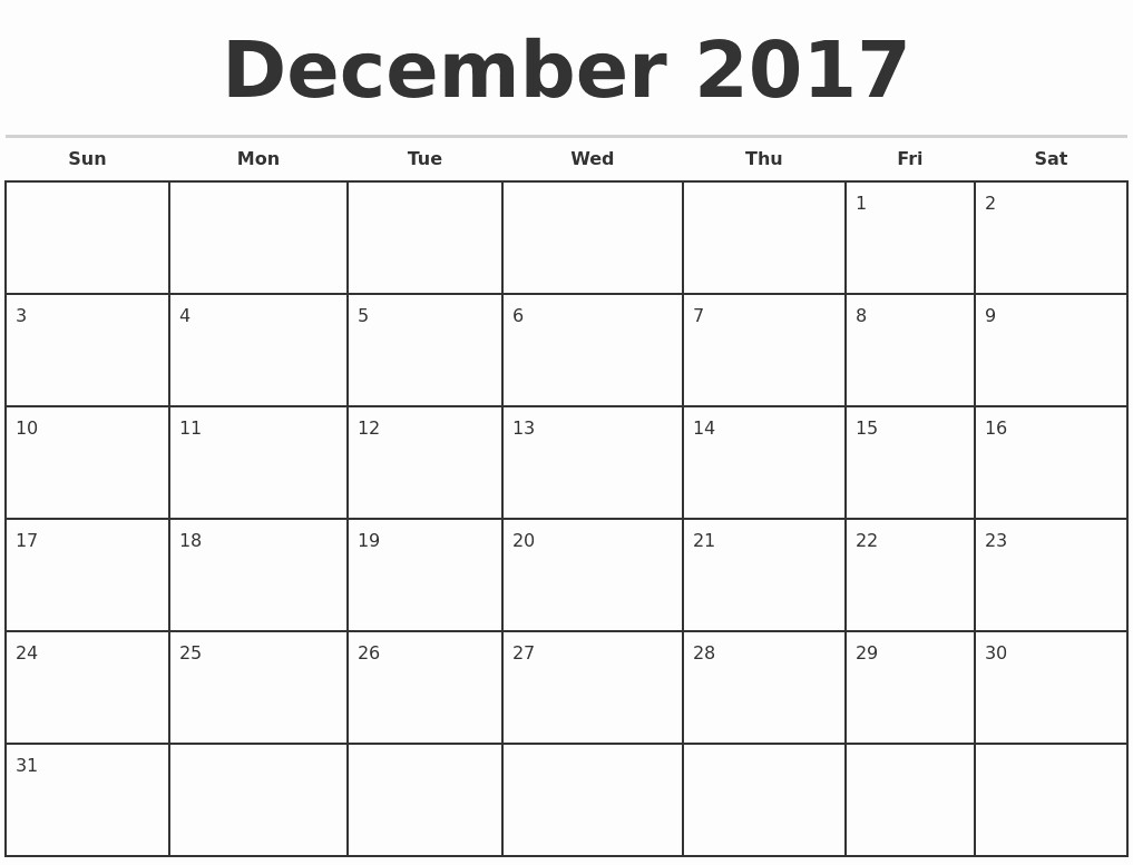 Blank Monthly Calendar 2017 Printable Best Of December 2017 Calendar Template Google Free Calendar
