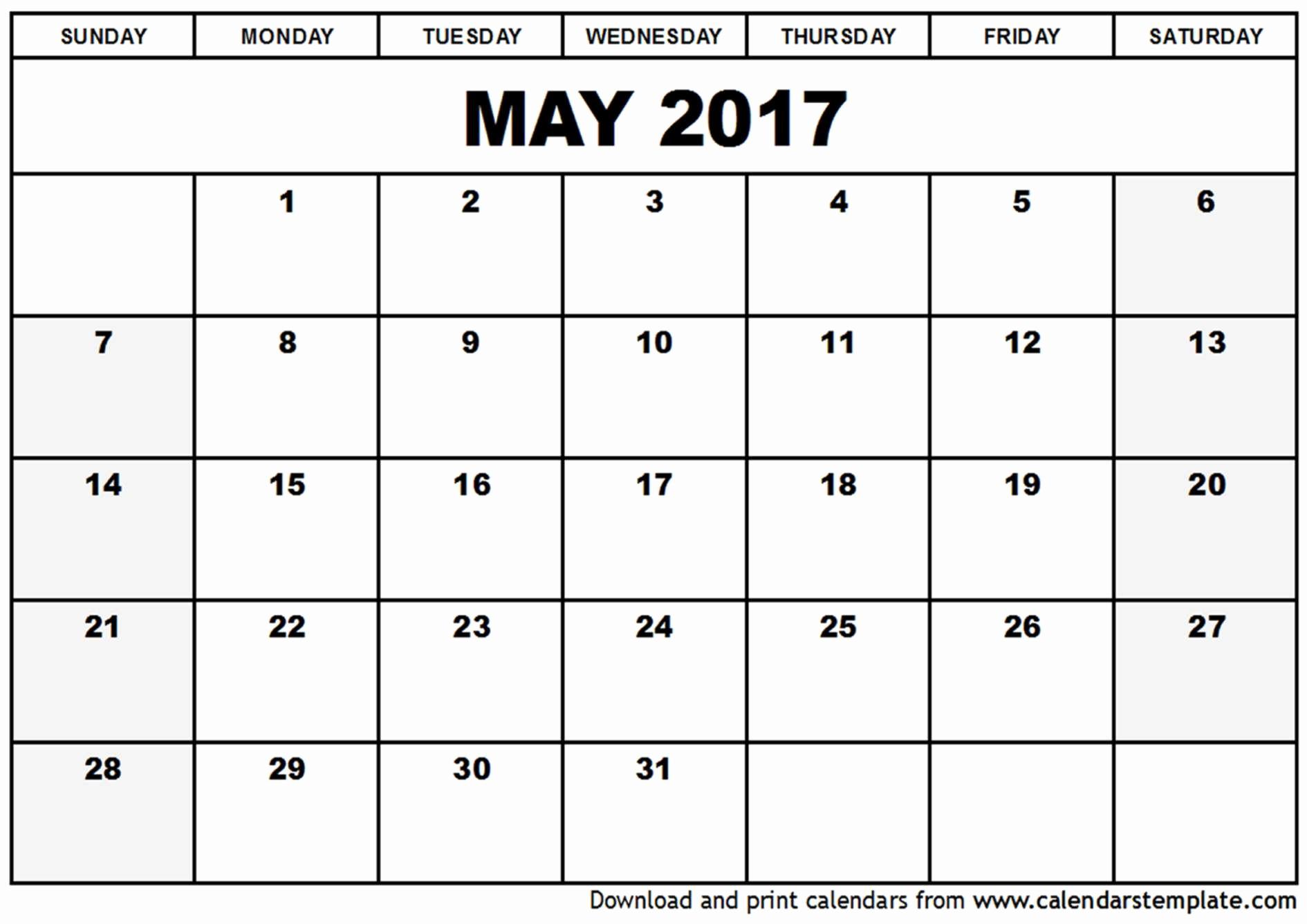 Blank Monthly Calendar 2017 Printable Elegant Blank Calendar Template 2017