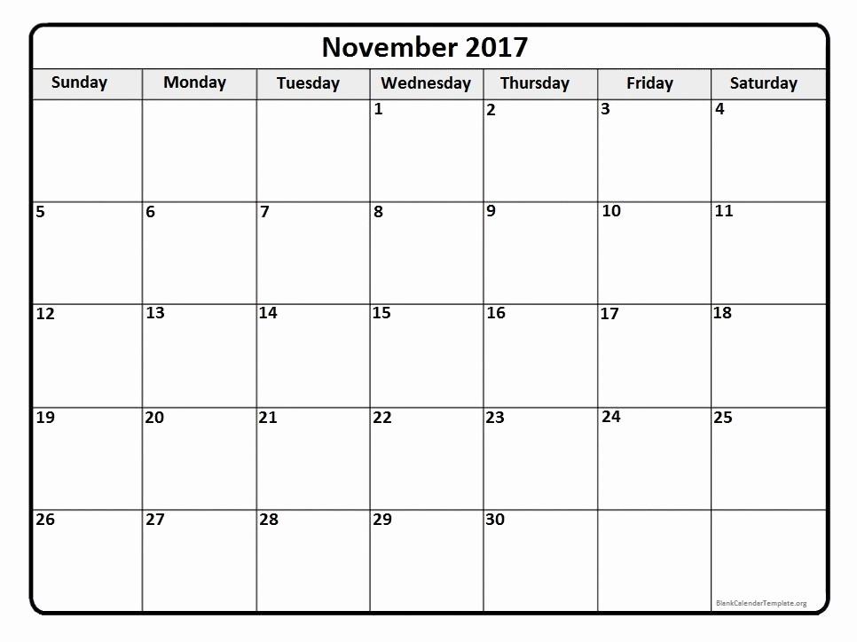Blank Monthly Calendar 2017 Printable Elegant November 2017 Calendar November 2017 Calendar Printable
