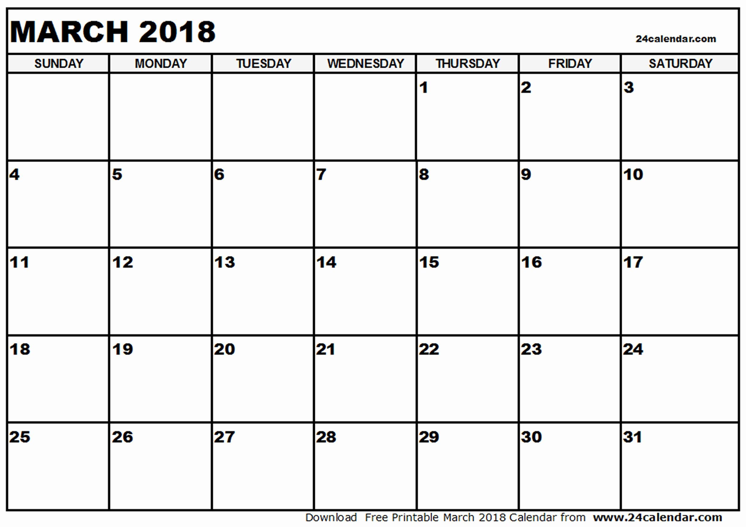 Blank Monthly Calendar 2017 Printable Fresh Blank 2018 Calendar