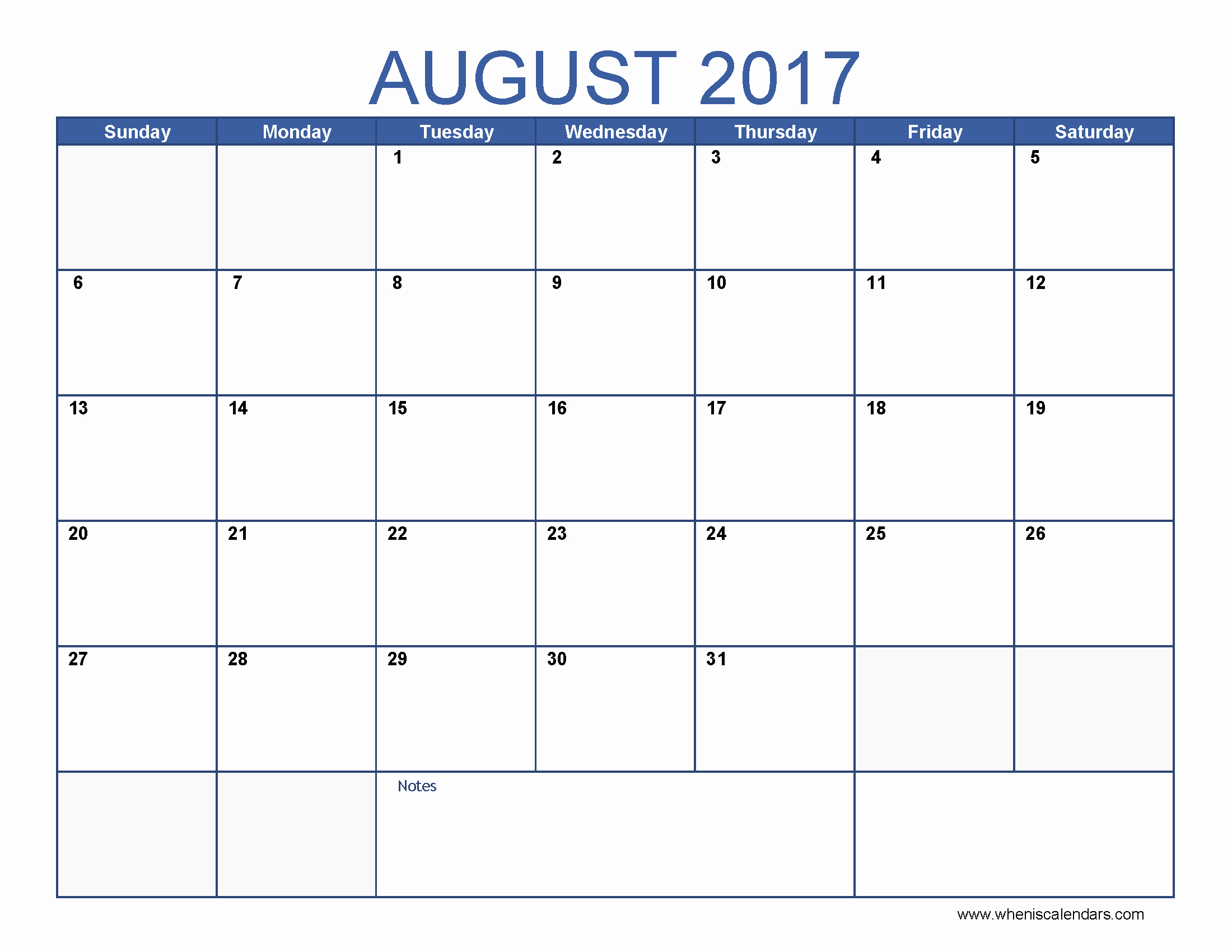 Blank Monthly Calendar 2017 Printable Fresh Blank August 2017 Calendar