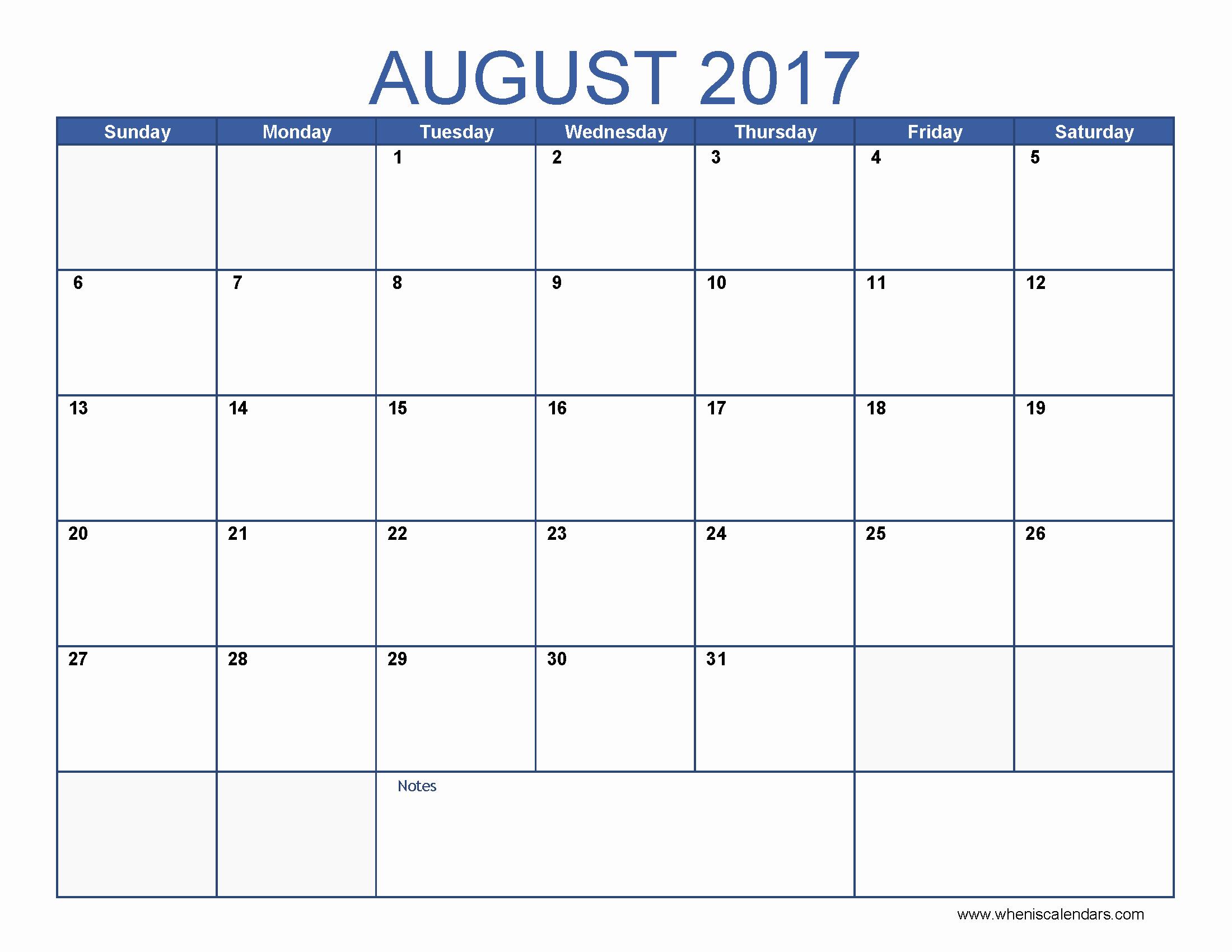Blank Monthly Calendar 2017 Printable Fresh Blank August 2017 Calendar