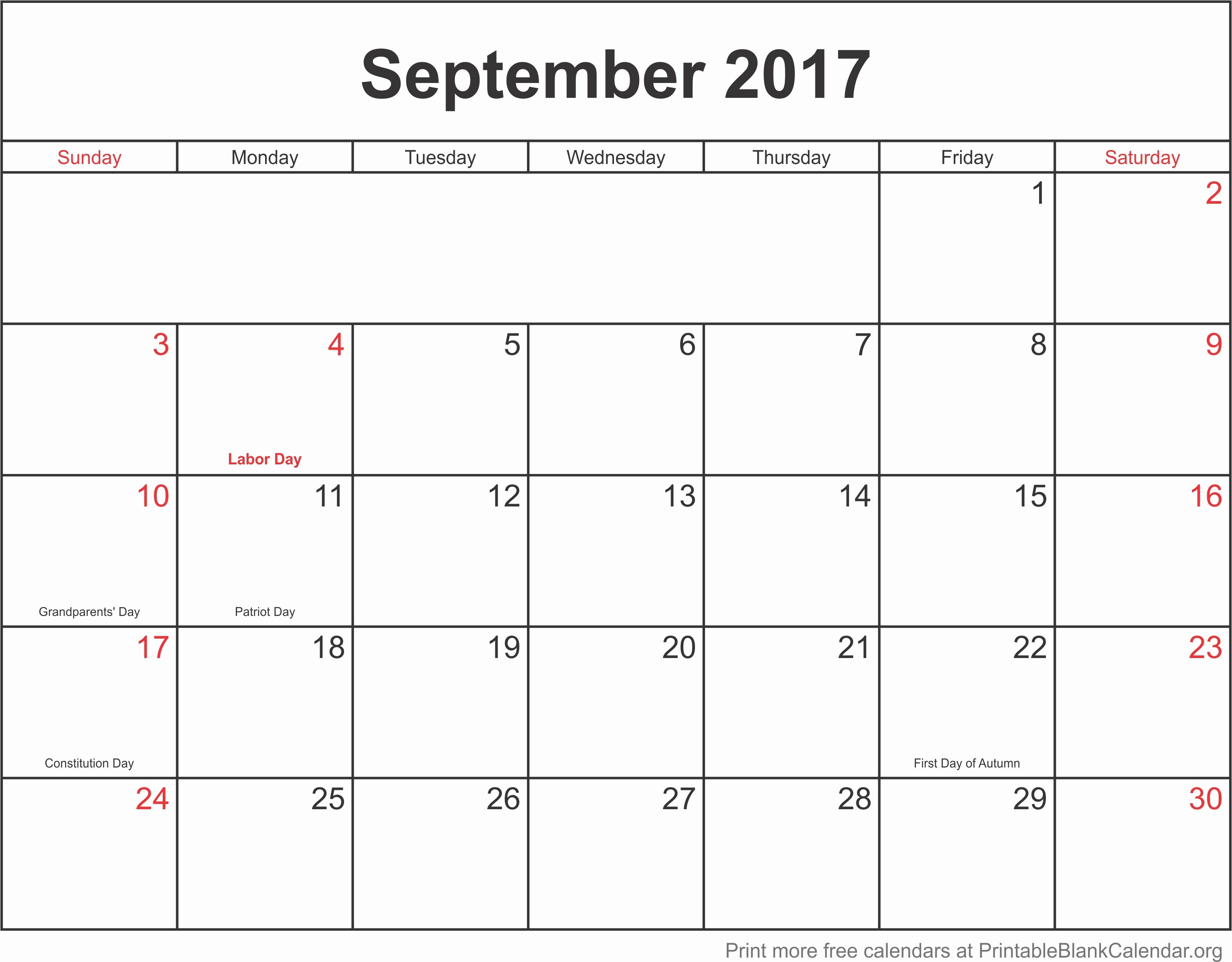 Blank Monthly Calendar 2017 Printable Fresh September 2017 Monthly Calendar Printable Blank Calendar