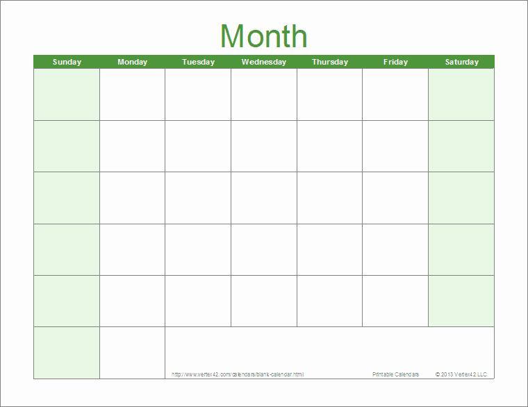 Blank Monthly Calendar 2017 Printable Inspirational 2017 Pdf Blank Calendar Monthly Green Pdf