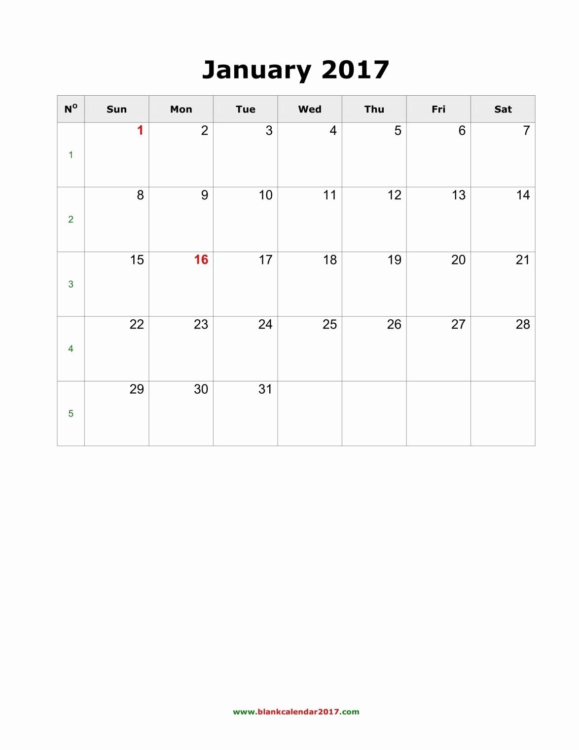 Blank Monthly Calendar 2017 Printable Inspirational Blank Monthly Calendar 2017