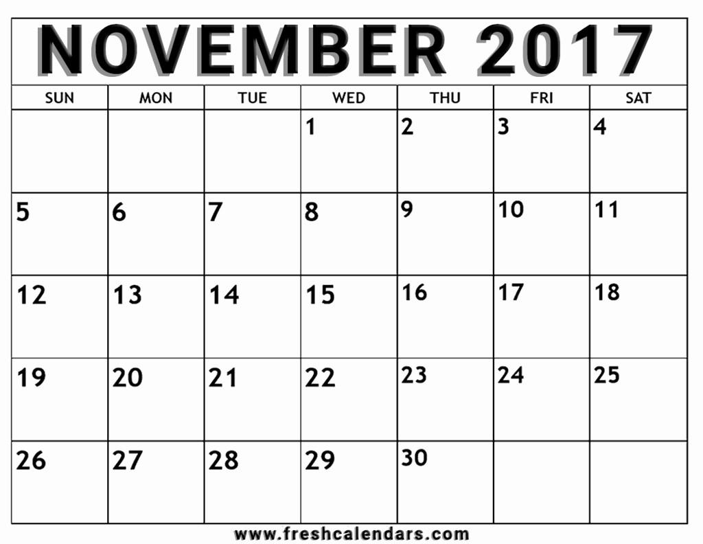 Blank Monthly Calendar 2017 Printable Inspirational Blank November 2017 Calendar Printable Templates