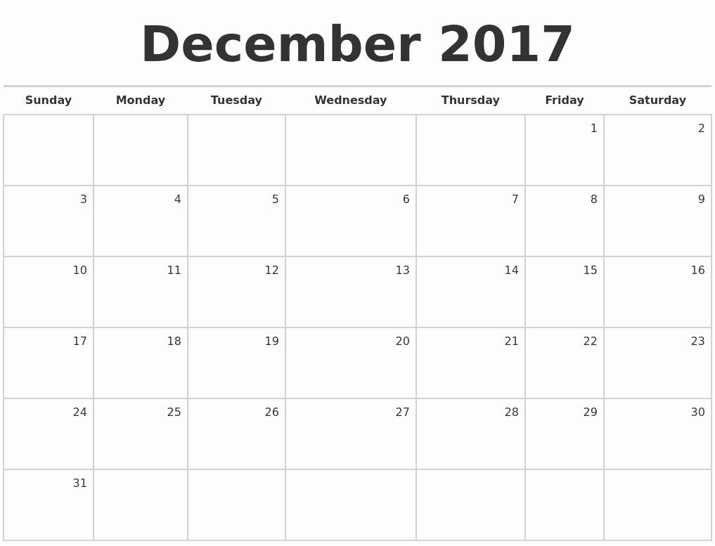 Blank Monthly Calendar 2017 Printable Inspirational December 2017 Blank Monthly Calendar
