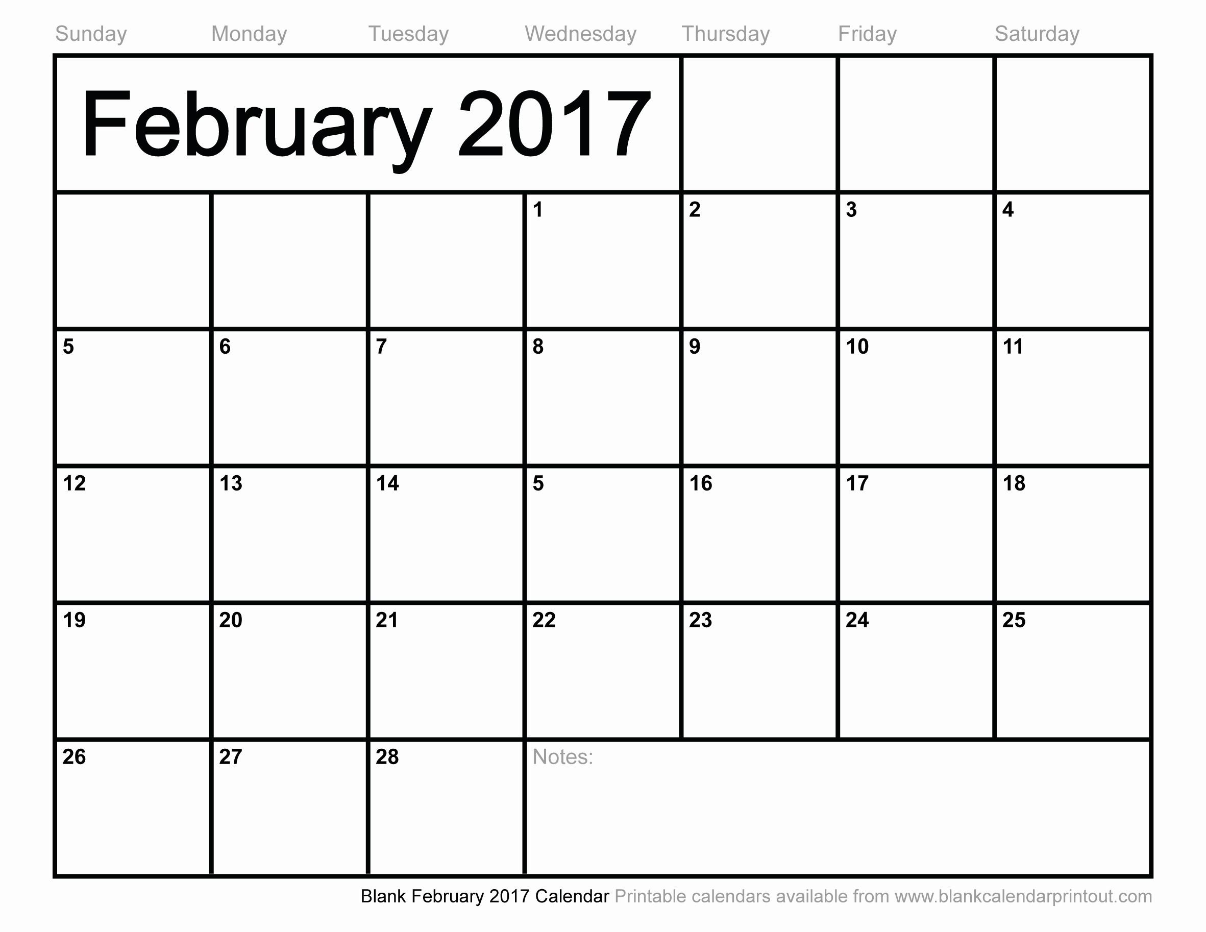 Blank Monthly Calendar 2017 Printable Lovely Blank February 2017 Calendar to Print