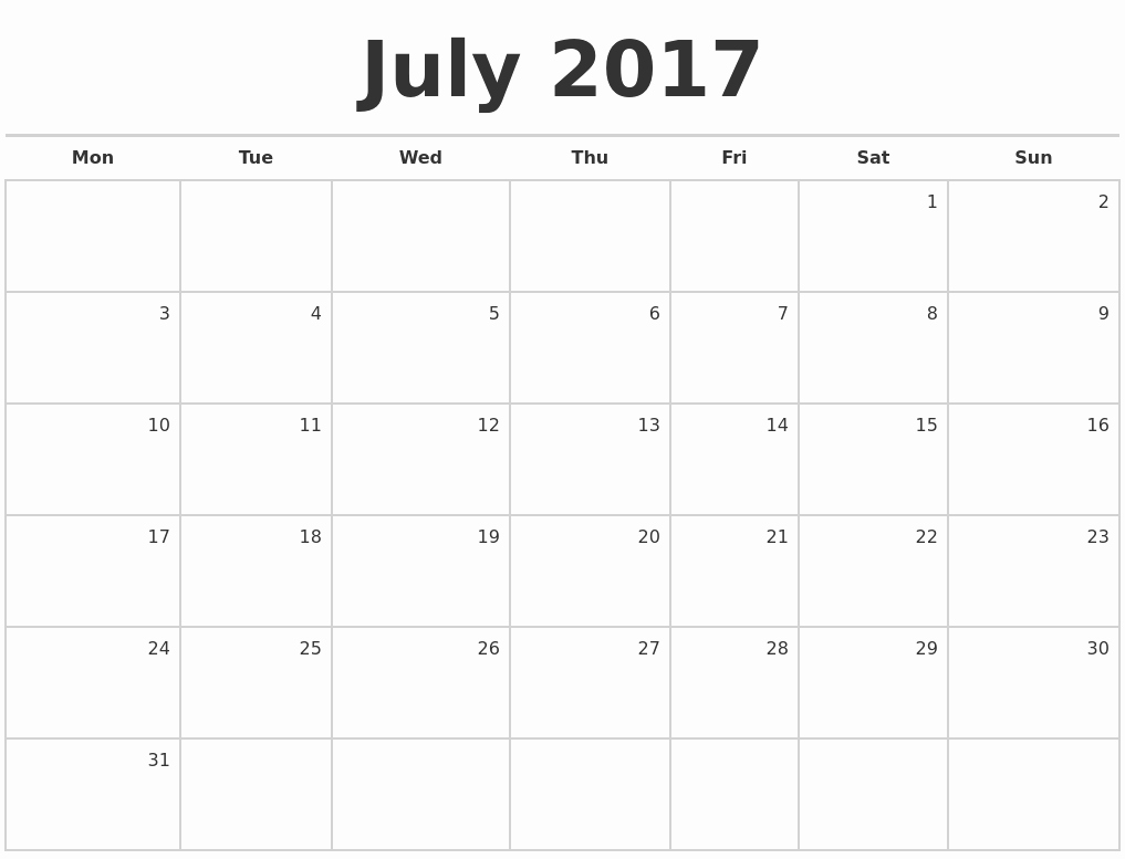 Blank Monthly Calendar 2017 Printable Lovely July 2017 Blank Monthly Calendar