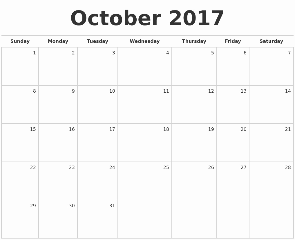 Blank Monthly Calendar 2017 Printable Lovely October 2017 Blank Monthly Calendar