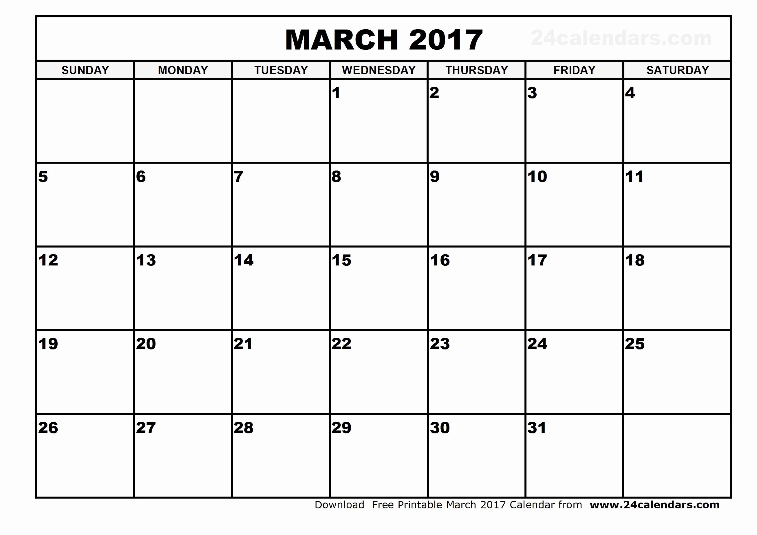 Blank Monthly Calendar 2017 Printable Luxury Blank March 2017 Calendar