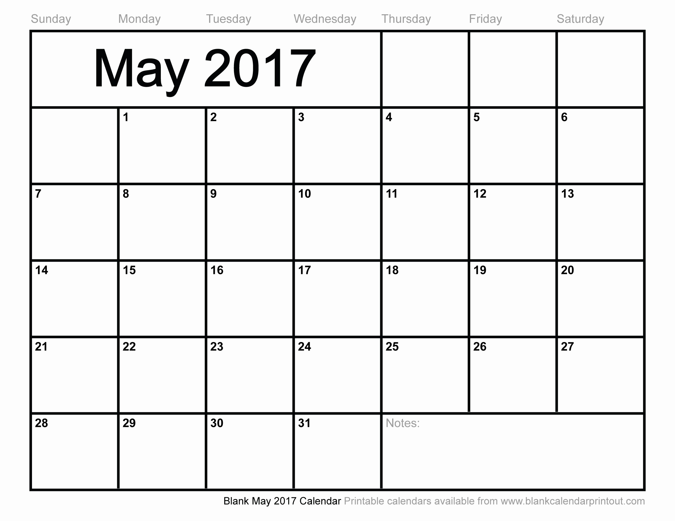 Blank Monthly Calendar 2017 Printable Luxury Blank May 2017 Calendar to Print