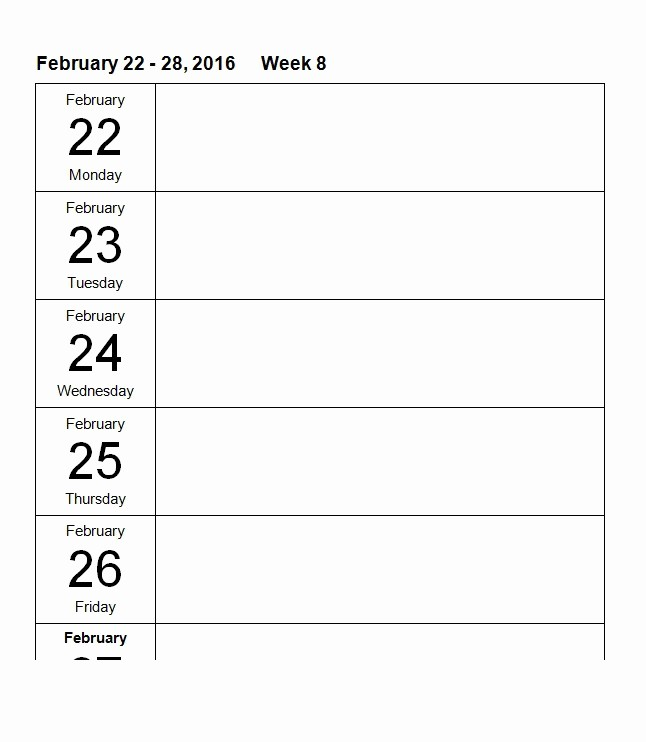 Blank Monthly Calendar Template Word Awesome 26 Blank Weekly Calendar Templates [pdf Excel Word]