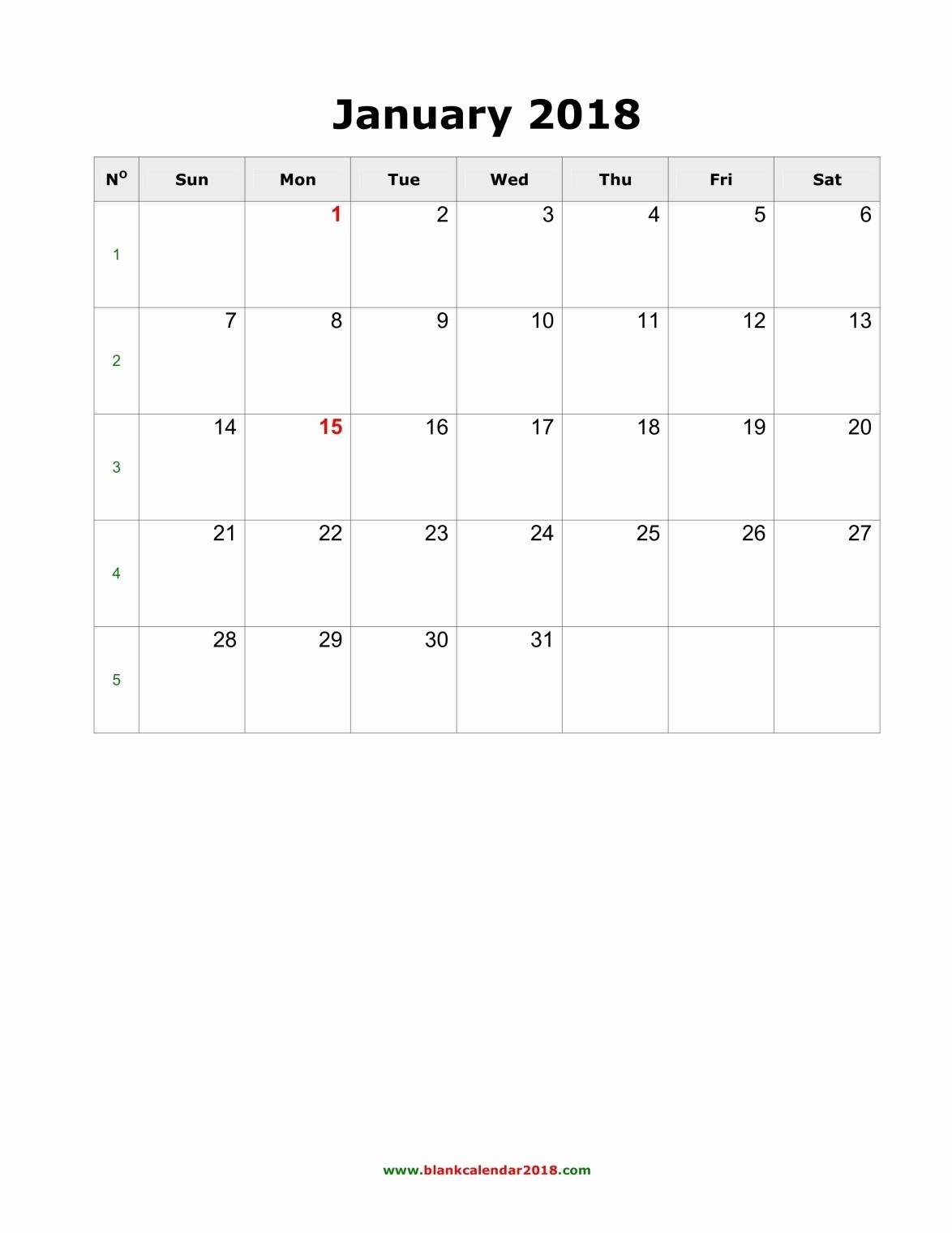 Blank Monthly Calendar Template Word Elegant Blank Monthly Calendar 2018 Portrait