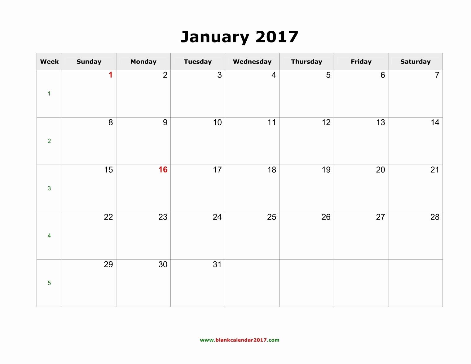 Blank Monthly Calendar Template Word New Blank Calendar January 2017 Landscape