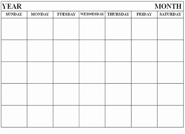 Blank Monthly Calendar Template Word Unique Calendar Blank Template Free Printable Calendars by