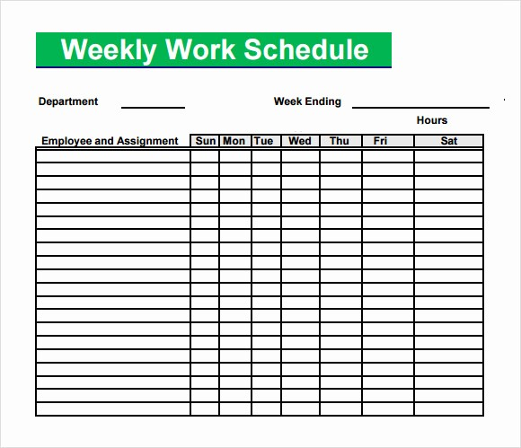 Blank Monthly Work Schedule Template Elegant 13 Blank Weekly Work Schedule Template Free Daily