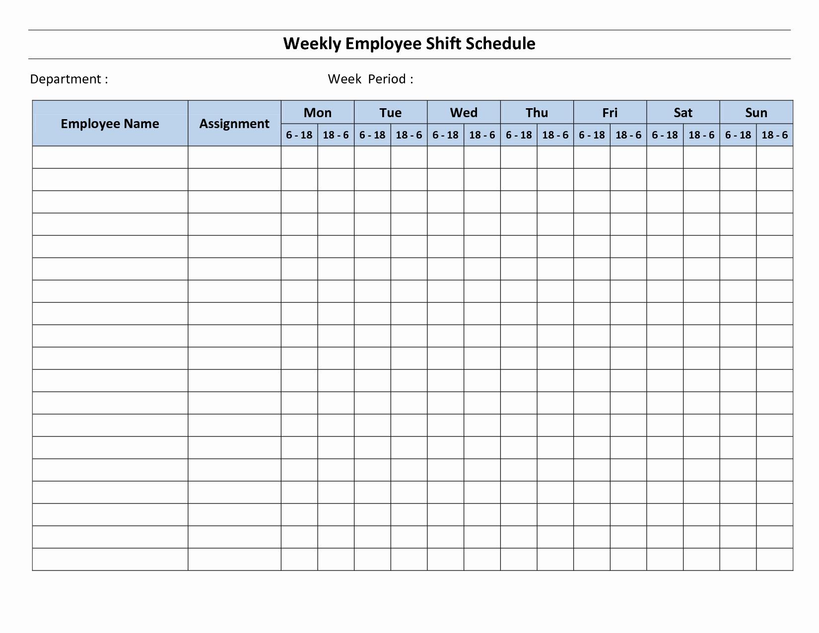 Blank Monthly Work Schedule Template Elegant 18 Blank Weekly Employee Schedule Template Blank