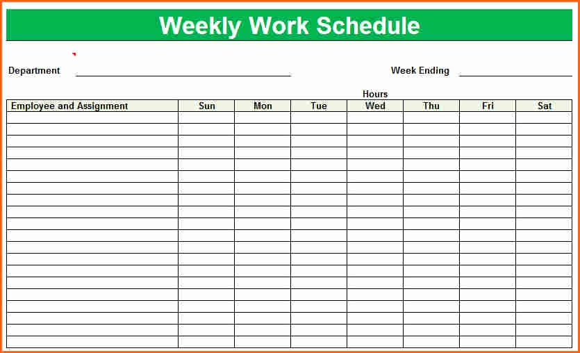 Blank Monthly Work Schedule Template Fresh 8 Weekly Staff Schedule Template Bud Template Letter