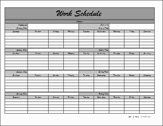 Blank Monthly Work Schedule Template Lovely Free Monthly Work Schedule Template Job