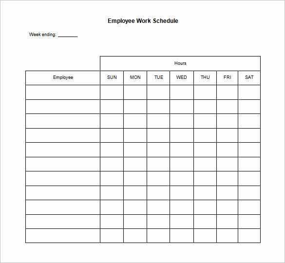 Blank Monthly Work Schedule Template Luxury 17 Blank Work Schedule Templates Pdf Doc
