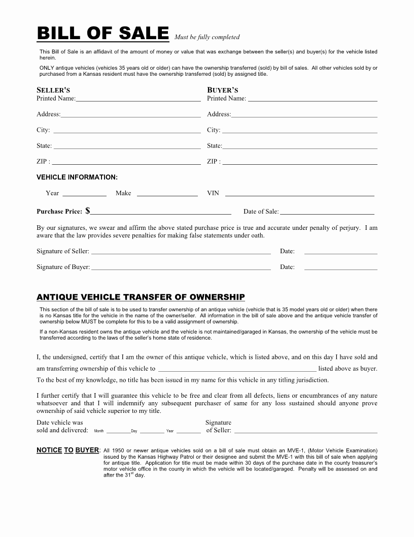 Blank Motorcycle Bill Of Sale Elegant Free Kansas Vehicle Bill Of Sale form Download Pdf