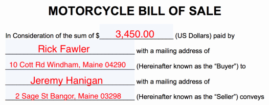 Blank Motorcycle Bill Of Sale Fresh Free Motorcycle Bill Of Sale form Pdf Word