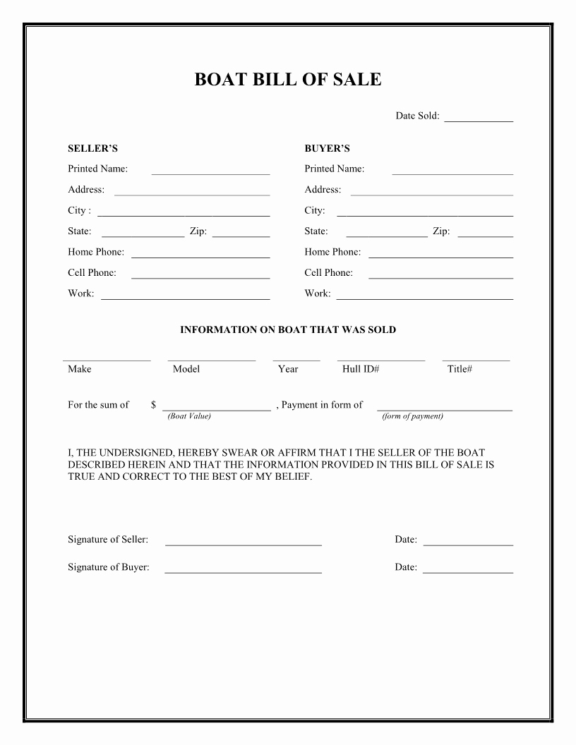 Blank Motorcycle Bill Of Sale Inspirational Free Boat Bill Of Sale form Download Pdf