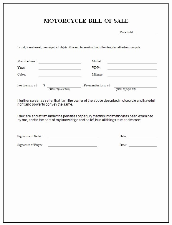 Blank Motorcycle Bill Of Sale Inspirational Free Printable Motorcycle Bill Of Sale form Generic