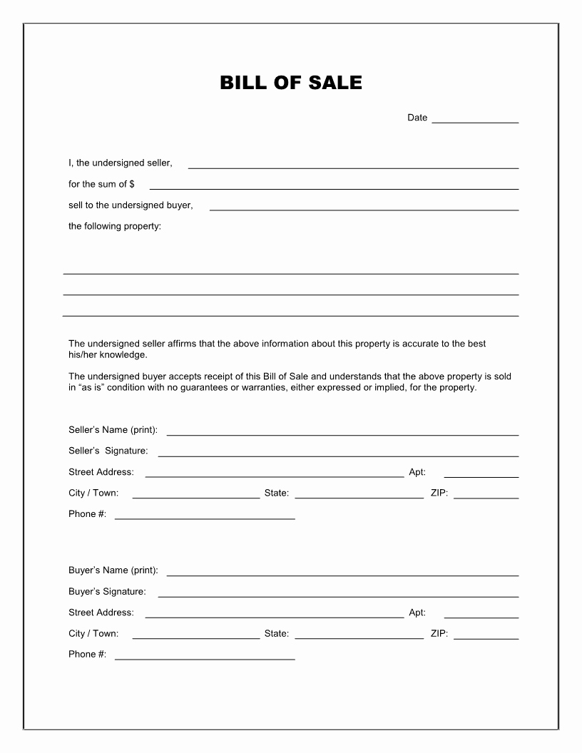 Blank Motorcycle Bill Of Sale New Free Printable Blank Bill Of Sale form Template as is