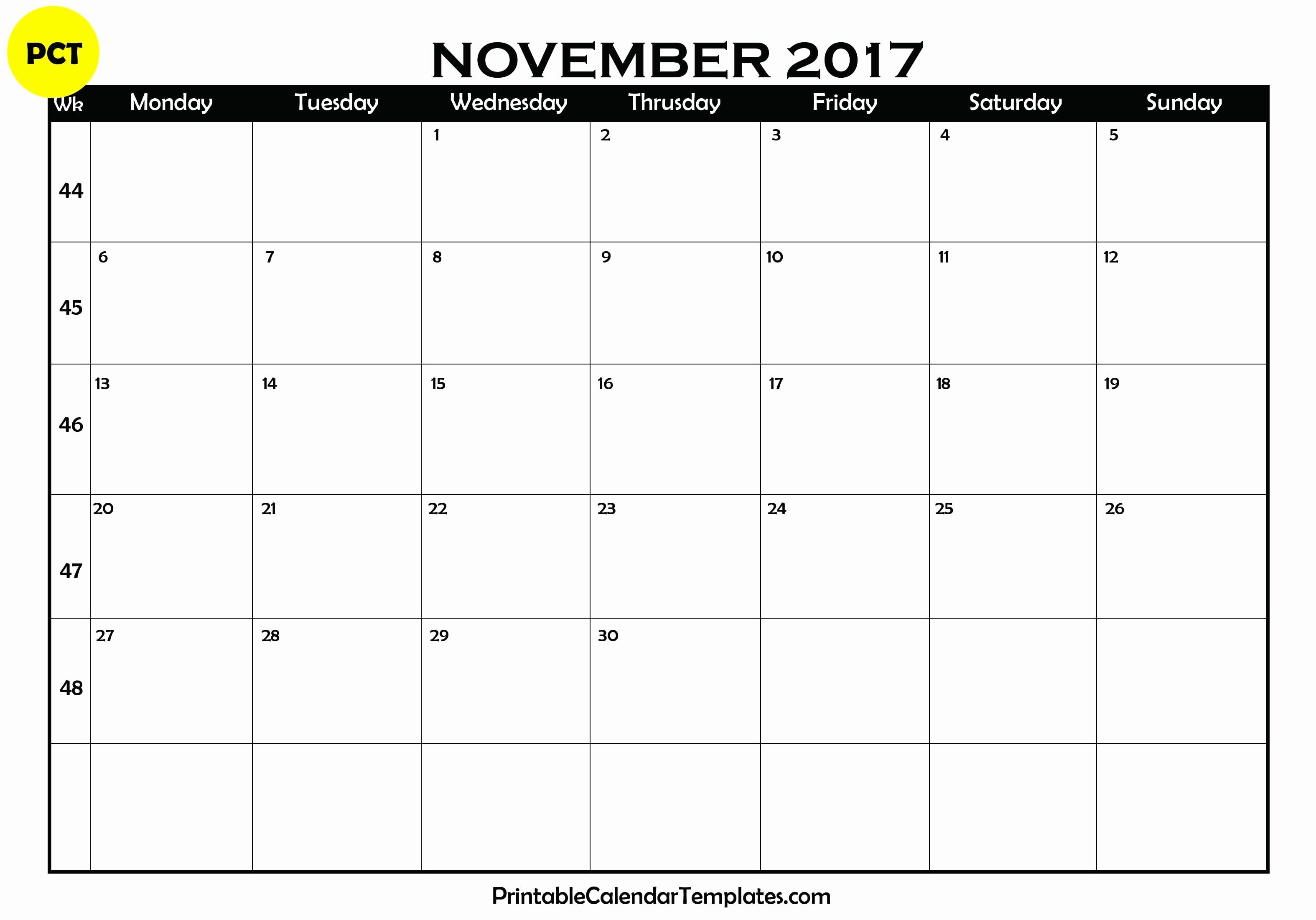 Blank November 2017 Calendar Template Awesome November 2017 Calendar Printable