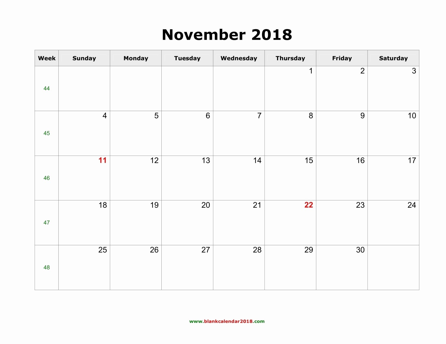 Blank November 2017 Calendar Template Awesome November 2018 Calendar Template