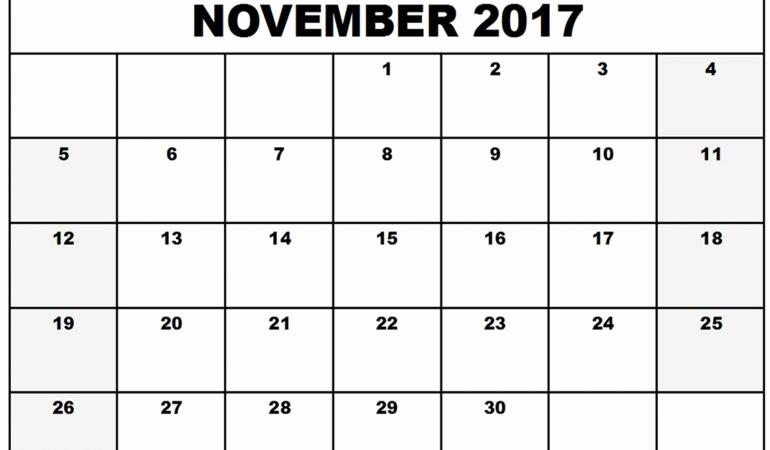 Blank November 2017 Calendar Template Beautiful Blank Calendar November 2017 Printable 2018