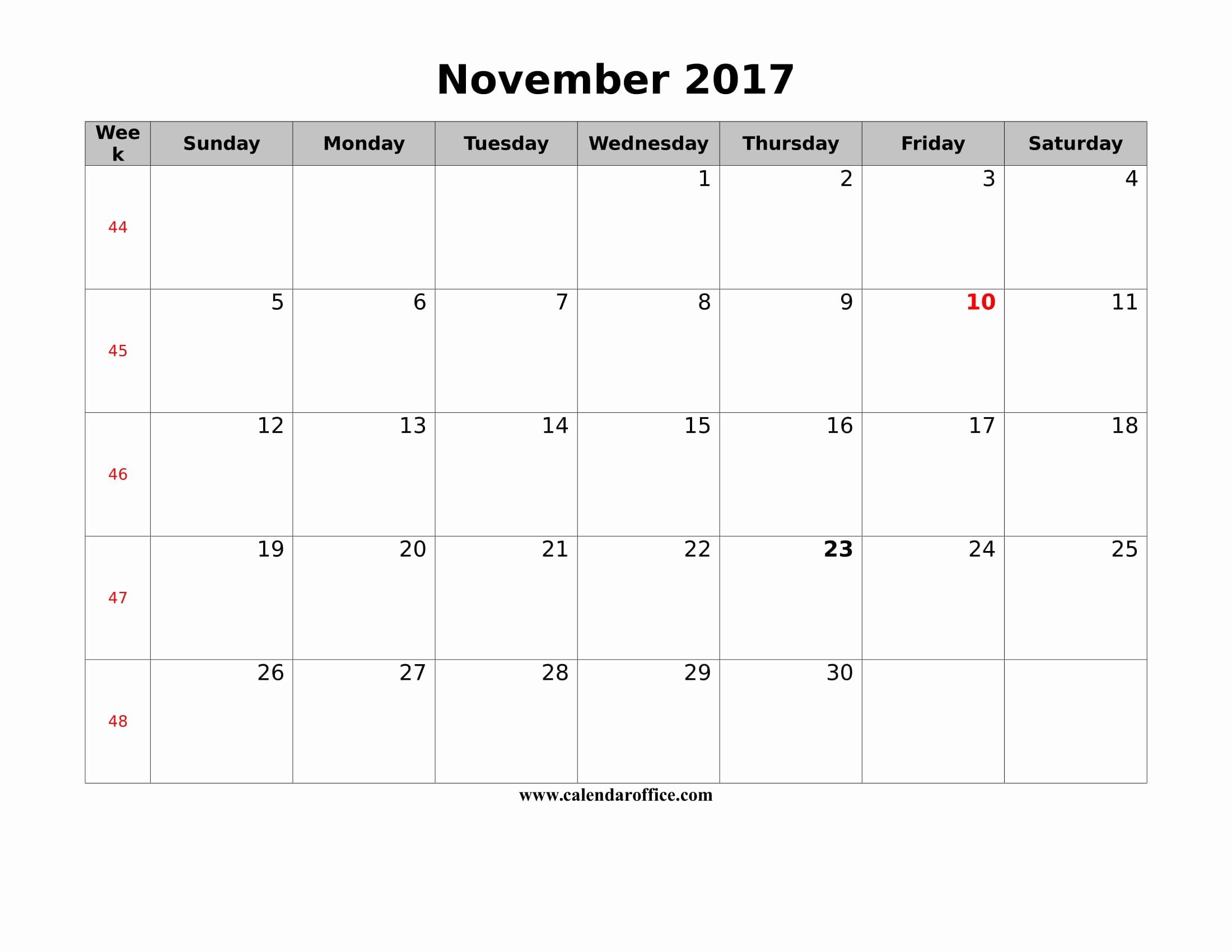 Blank November 2017 Calendar Template Beautiful November 2017 Calendar Printable Templates Calendar Fice