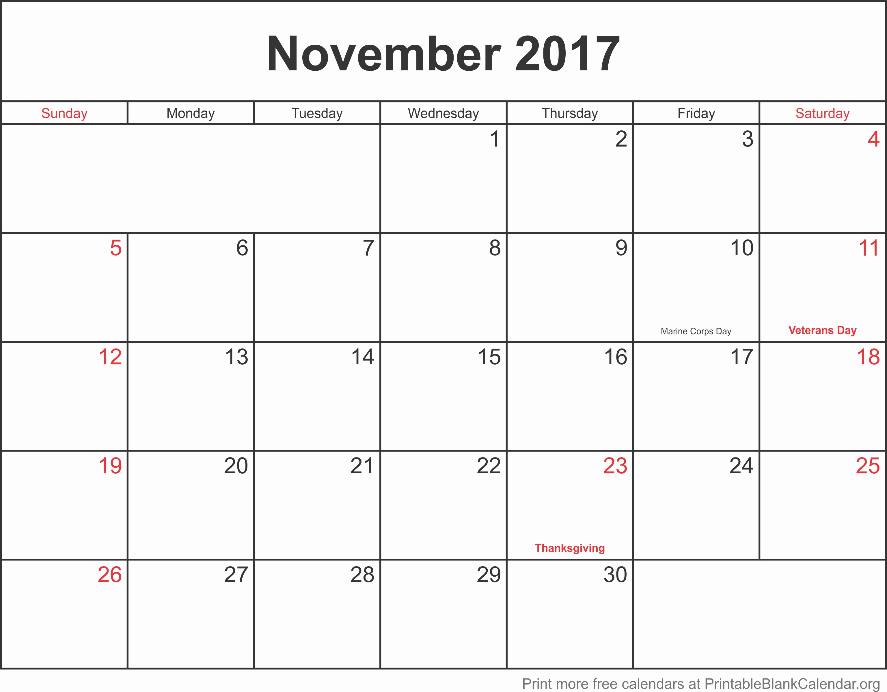 Blank November 2017 Calendar Template Beautiful November 2017 Monthly Calendar Printable Blank Calendar